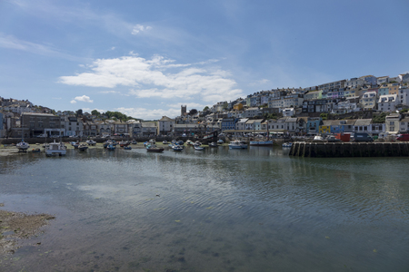 Beautiful Brixham landscape with the town in the background in the middle of a hot bright summer in early afternoon