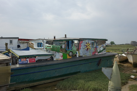 Houseboats of Shoreham, An amazing unique and fantastic collection of houseboats along the Shoreham-by-Sea riverbank on the River Adur Editorial