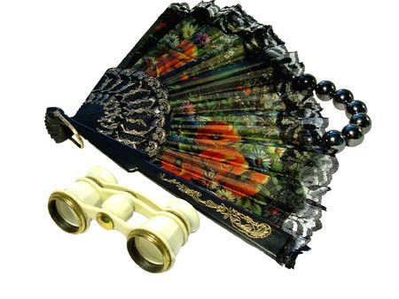 composition from a fan beads and opera-glass Stock Photo - 3655521