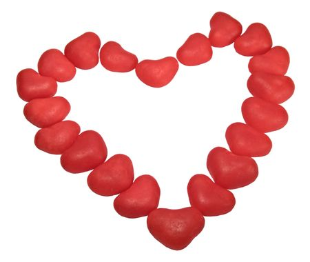 red hearts on white background Stock Photo - 6394098
