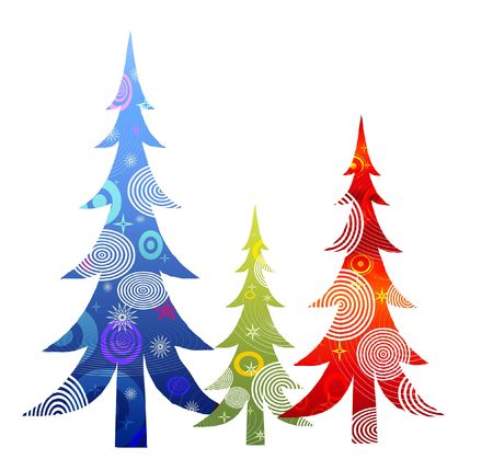 illustrated: Retro Christmas Trees