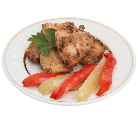 Fried fish  with vegetables  photo