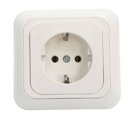 socket: White Power Outlet and socket isolated Stock Photo