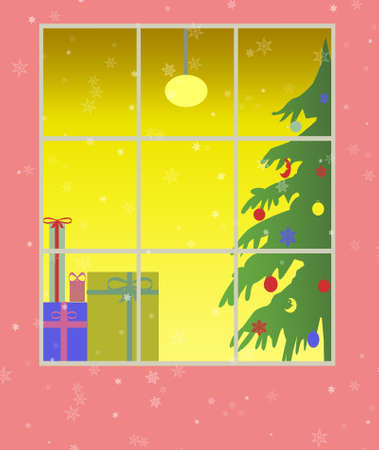 window with christmas decoration  photo