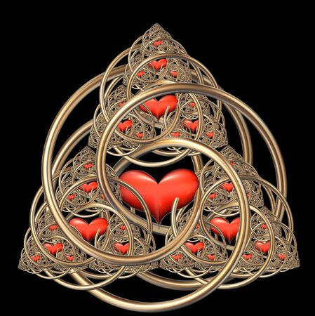 fractal with red hearts and gold spirals photo