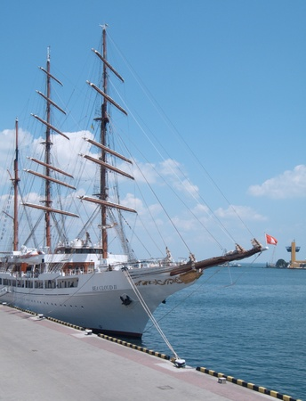ODESSA, UKRAINE - JULY 10: Passenger ship M/S Sea Cloud II sailing under Maltese flag   visited Port of Odessa , Ukraine on July 10, 2011  Stock Photo - 9891497