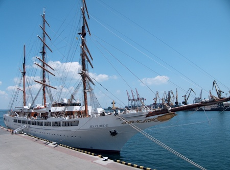 ODESSA, UKRAINE - JULY 10: Passenger ship M/S Sea Cloud II sailing under Maltese flag   visited Port of Odessa , Ukraine on July 10, 2011  Stock Photo - 9891498