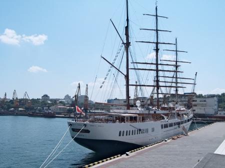 ODESSA, UKRAINE - JULY 10,2011: Passenger ship M/S Sea Cloud II (Built: 2001, Flag: Malta) visit Port of Odessa  in Odessa, Ukraine, 10 July 2011 Stock Photo - 9900236