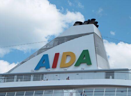 ODESSA, UKRAINE - AUGUST 01,2011: Passenger ship M/S AIDA AURA (Built: 2003, Flag: Italy)   visit Port of Odessa on 01 August, 2011 in Odessa, Ukraine. Stock Photo - 10086244