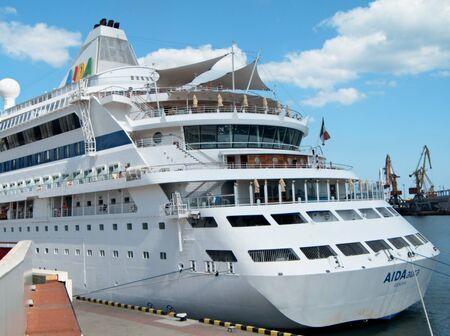 ODESSA, UKRAINE - AUGUST 01,2011: Passenger ship M/S AIDA AURA (Built: 2003, Flag: Italy)   visit Port of Odessa on 01 August, 2011 in Odessa, Ukraine. Stock Photo - 10086245