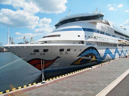 ODESSA, UKRAINE - AUGUST 01,2011: Passenger ship M/S AIDA AURA (Built: 2003, Flag: Italy)   visit Port of Odessa on 01 August, 2011 in Odessa, Ukraine. Stock Photo - 10086246