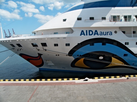 ms: ODESSA, UKRAINE - AUGUST 01,2011: Passenger ship MS AIDA AURA (Built: 2003, Flag: Italy) visit Port of Odessa on 01 August, 2011 in Odessa, Ukraine.