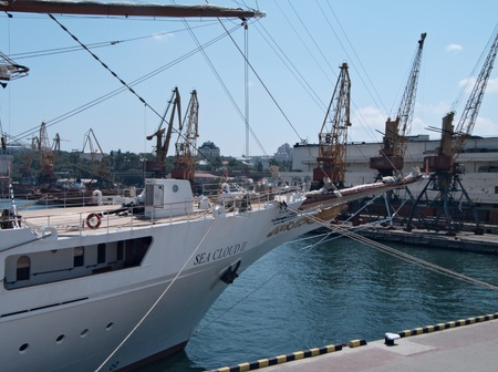 ms: ODESSA, UKRAINE - JULY 10,2011: Passenger ship MS Sea Cloud II (Built: 2001, Flag: Malta)   visit Port of Odessa  in Odessa, Ukraine, 10 July 2011 Editorial