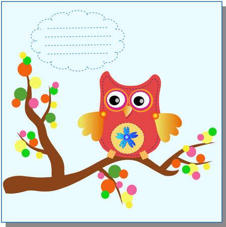 little sweet owl message  Vector