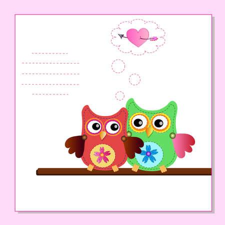 little sweet owl message Stock Vector - 12450351