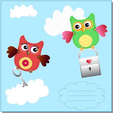 little sweet owls message Stock Vector - 12450356