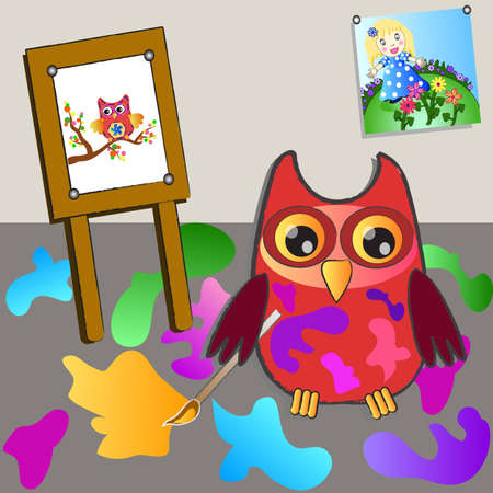 little sweet owl of paiting  Vector