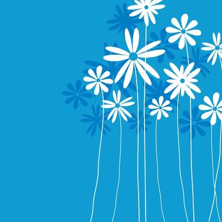Blue  flower background for art projects, pamphlets, brochures or cards  Illustration