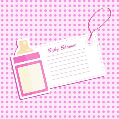 Baby bottle shower. Invitation card . Vector