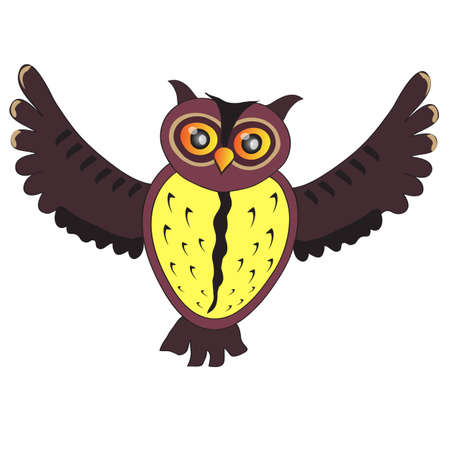 siluet: Cartoon flying Owl (vector version)