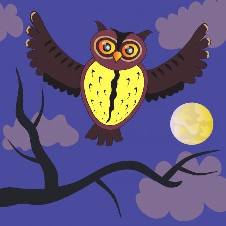 Cartoon night Owl (vector version) Vector