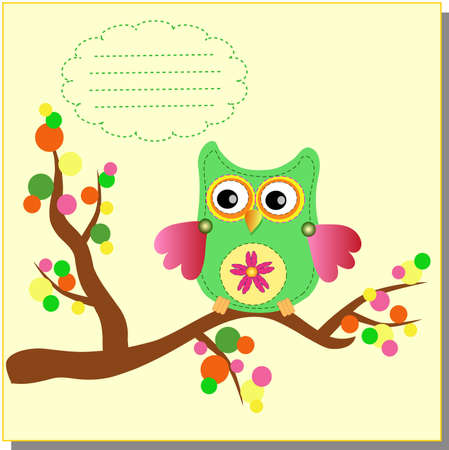 little sweet owl message  Stock Vector - 12795645