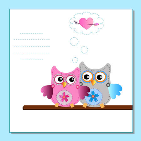 couple little sweet owls Vector
