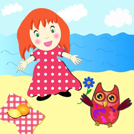 Cute little girl picnic on the beach  Vector