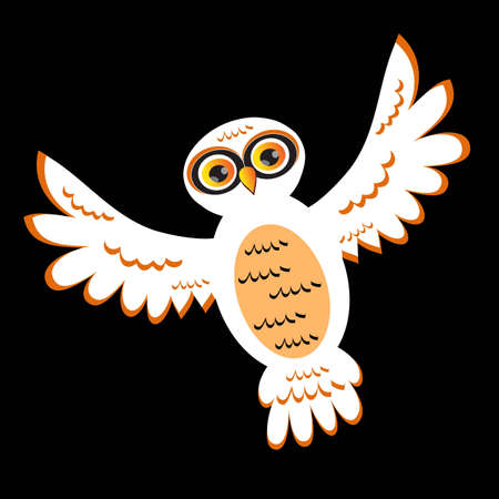 vision nocturna: Cartoon White Owl (versi�n vectorial)