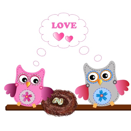 egg plant: little sweet owls Illustration