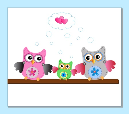 little sweet owls family Stock Vector - 12795688