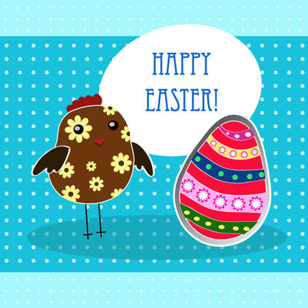 vector background with holiday Easter chicken Vector