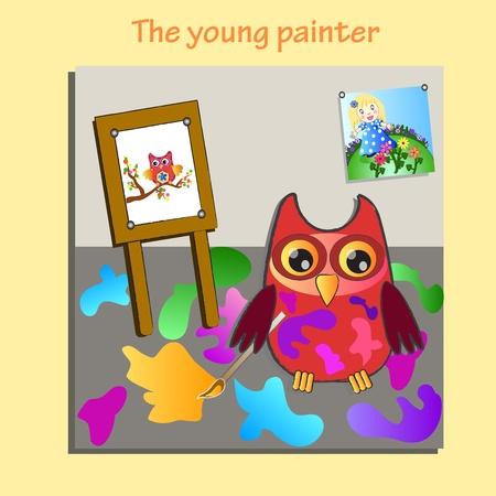 little painting owl (painter) Illustration