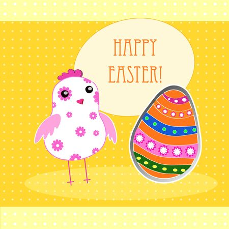 vector background with holiday Easter chicken