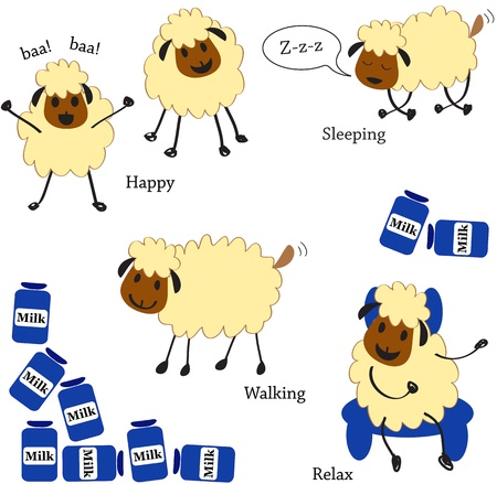 bleating: Doodle sheep set  Illustration