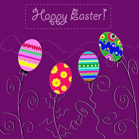 vector background with holiday Easter eggs  Vector