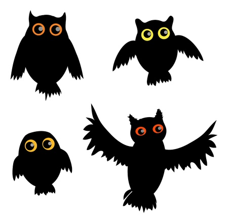 siluet: Cartoon Owl siluet (vector version)  Illustration