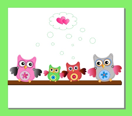 pequeña familia búhos dulces