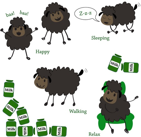 bleating: Doodle sheep set