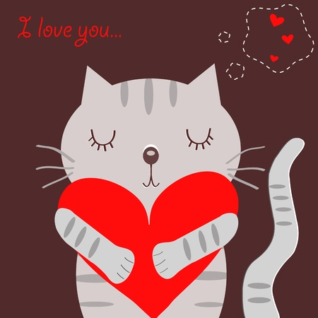 Loving grey cat Vector