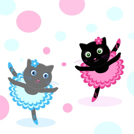 gray cat: ballet-dancers Illustration