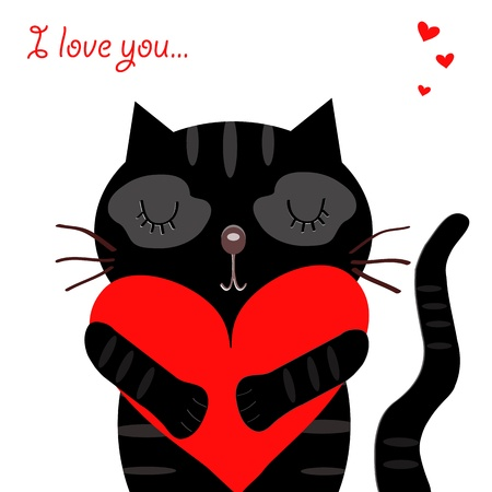 love black cat Vector