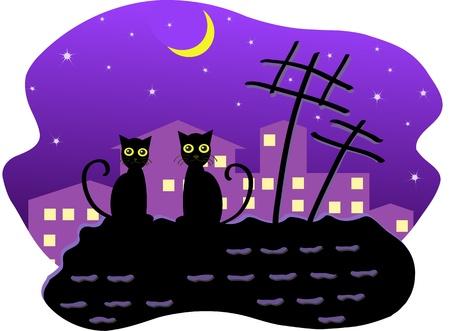bilding: Cats at night Illustration