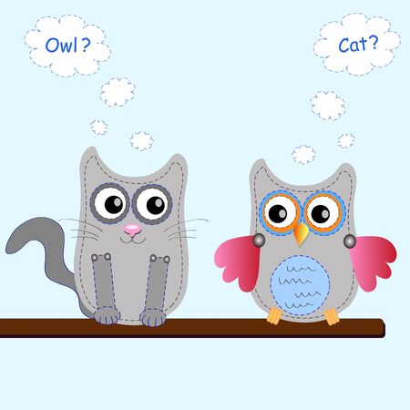 little sweet owl and cat Vector
