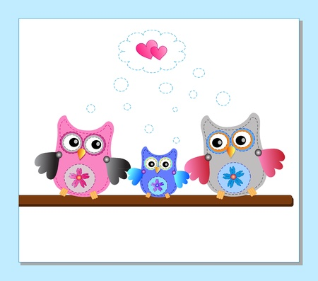 little sweet owls family Vector