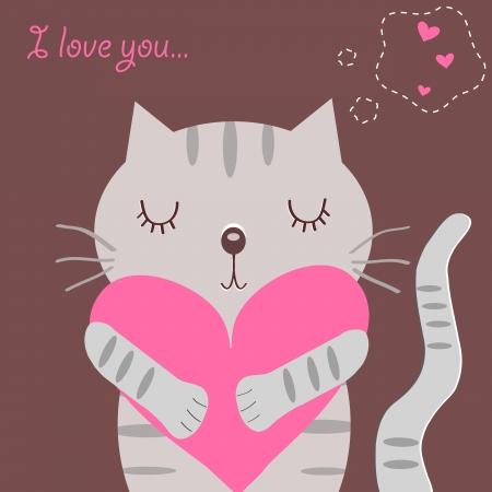 happy cat: Liebevolle Katze Illustration