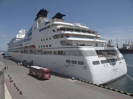 ODESSA, UKRAINE - May 21,2012: Passenger ship M/V Seabourn Quest (Built: 2011, Flag: Bagamas) visit Port of Odessa   on 21 May, 2012 in Odessa, Ukraine. Stock Photo - 13744462