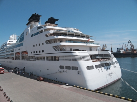 ODESSA, UKRAINE - May 21,2012: Passenger ship M/V Seabourn Quest (Built: 2011, Flag: Bagamas) visit Port of Odessa   on 21 May, 2012 in Odessa, Ukraine. Stock Photo - 13744461