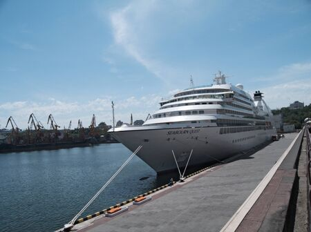 ODESSA, UKRAINE - May 21,2012: Passenger ship M/V Seabourn Quest (Built: 2011, Flag: Bagamas) visit Port of Odessa on 21 May, 2012 in Odessa, Ukraine. Stock Photo - 13744460