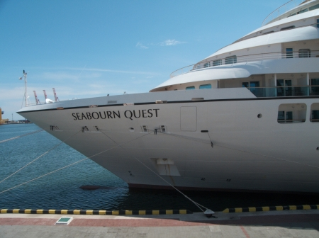 ODESSA, UKRAINE - May 21,2012: Passenger ship M/V Seabourn Quest (Built: 2011, Flag: Bagamas) visit Port of Odessa on 21 May, 2012 in Odessa, Ukraine. Stock Photo - 13795620
